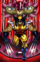 Wolverine Vs Magneto Colour by Bungle0