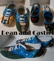 Supernatural Shoes Dean and Cas by Worldofdrawing