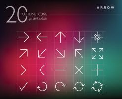 Arrow Outline Icons Set by dryopus