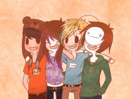 .: Pewds, Cry, Minx, and Ken THE TEAM :. by LittleMissZKits