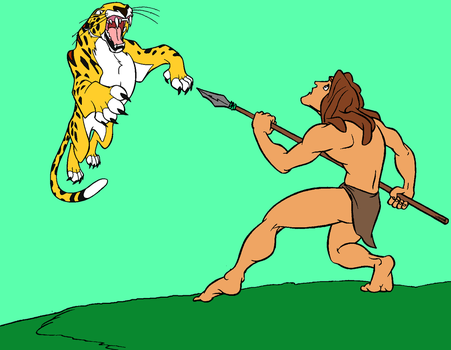 Tarzan vs Leopard by AUBREY1144