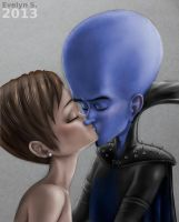 Megamind and Roxanne kissing (colour  version) by eleathyra