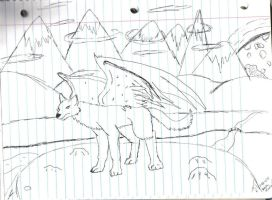 Winged Wolf by hylian-dragoness