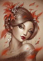 Geisha leaves print by Sabinerich