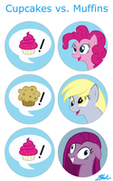 MLP - Cupcakes Vs Muffins buttons by caycowa