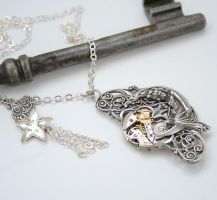 Artemis Moon Goddess Steampunk Necklace by byrdldy