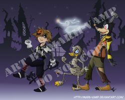 Sora and Co. in Halloween Town by marii-vamp