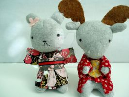 Kimono Bunny and Citrus Moose Plushie by Kago-The-Kitty