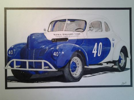 1940 Ford stock car.  by devilsbone