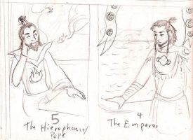 Tarot: Emperor and Hierophant by vifetoile