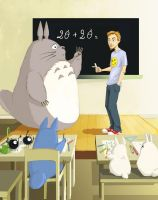 Totoro in school by DameEleusys