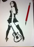 guitar girl stencil.. by Farhadine