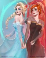 Elsa and Anna dancing in ice and fire by zilvania