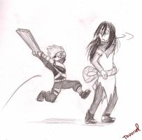 Young Kakashi vs. Orochimaru by Tavoriel