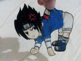 paper child- sasuke chibi by adelair