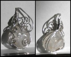 Clear Stone Wire Wrap Pendant by Zorias