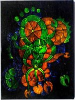 Fluorescent acrylics on black canvas 8 by ArtGenEeRing