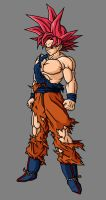 Goku SSJG, Battle Damaged by theothersmen