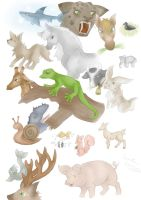 Animal sketches by Larka-Lover