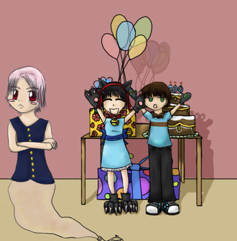genies' and their 100th b-day by TheEbilBunni