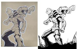 Groot and Rocket pencils and inks by kcspaghetti