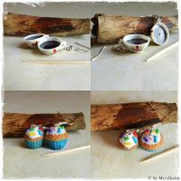 Coffee Cup and Muffin Earrings Commission by oOMetalbrideOo