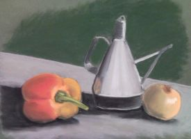 Pepper and onion with silver by rpucella