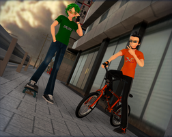 Skater and biker by Rolneeq