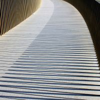 Sackler Crossing Bronze Post Shadowed Slate Slats by aegiandyad
