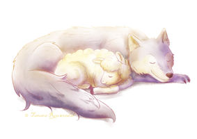 Wolf and little lamb by tamaraR