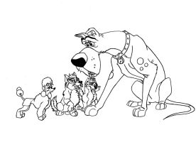 Kitara the wolfhound - Uncle Tasso and the pups by MortenEng21