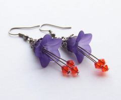 Purple Flower Earrings by ms-pen