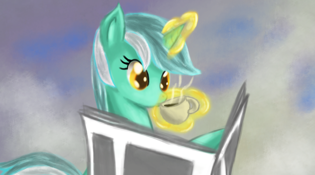 Lyra Reading the Paper by Ardail