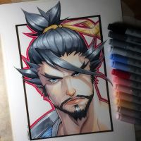 Hanzo Shimada - Copic Drawing by LethalChris