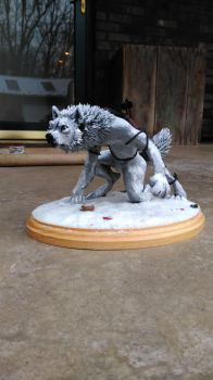 Original The Tracker Werewolf Sculpture Details 1 by starwolf303