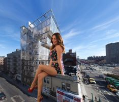 Kelly Brook Sitting on a Building by ChaoticWarlord
