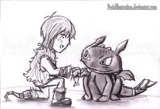 Hiccup and Toothless by PerisIllustration