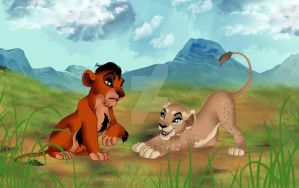 Scar and Zahara as cubs by IwarinJones