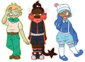 alola starter gijinkas by toggetic