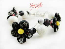 Bracelet - Black flowerly garden by Benia1991