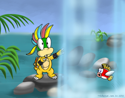 Waterfalls and a Koopaling by TrishaKat