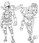 Samus and Snake lines by oh8
