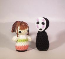 Spirited Away Chihiro and No Face Amigurumi by StitchyGirl