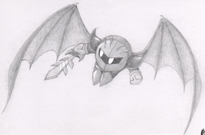 Meta Knight Pencil Drawing by frostystar