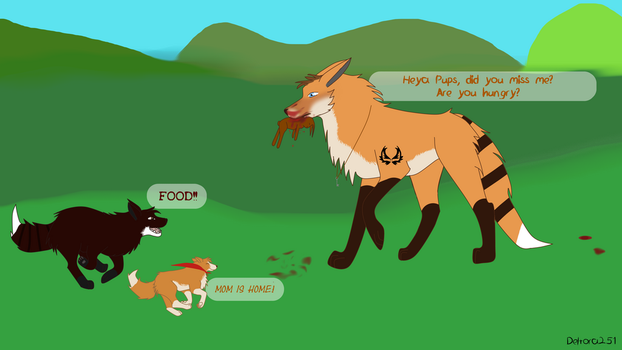 Reggie and the Pups- Successful Hunt by Deltora251