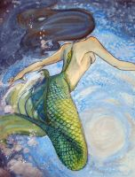 Watercolor Mermaid by kara-lija