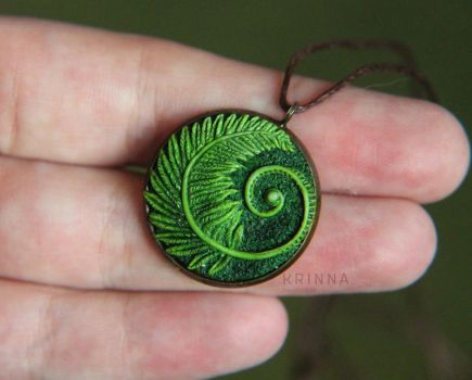 Polymer clay fern charm by Krinna