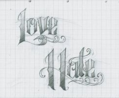 Love Hate Tattoo lettering by 12KathyLees12