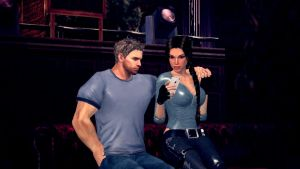 Lara Croft and Chris Redfield in the bar by PoliOrange