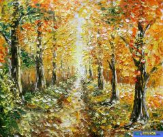 """palette knife oil painting """"autumn painting&q by wwwrybakowcom"""